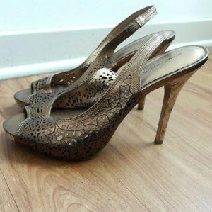 🦋 Audrey Brooke Open Toe Slingback Bronze Sandal